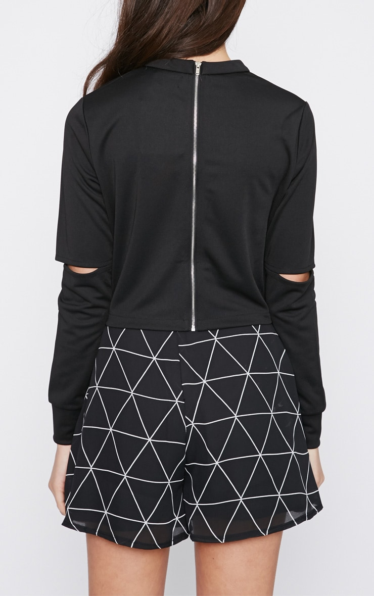 Lala Black Split Arm Turtle Neck Crop Top  2