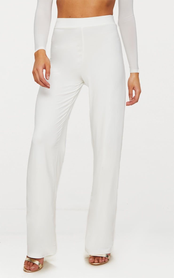 Petite White Slinky Wide Leg Pants 2