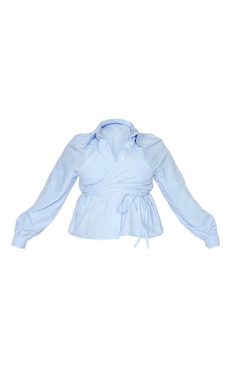 Plus Blue Layered Wrap Around Shirt 5