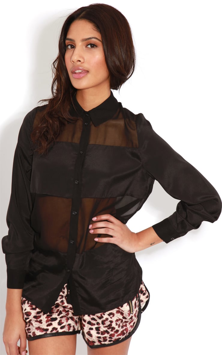 Helena Black Mesh Panel Blouse  1