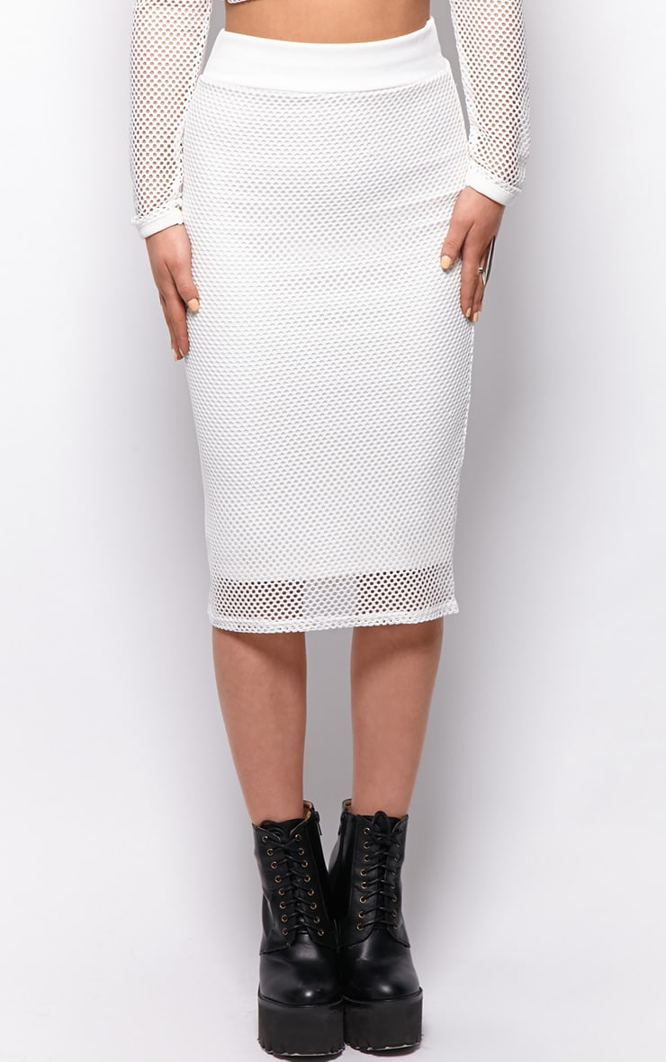 Eleanor White Fishnet Midi Skirt 3