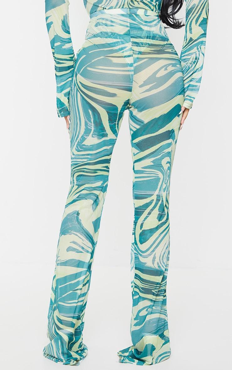 Petite Khaki Tiger Print Mesh Skinny Fit Flared Pants 3
