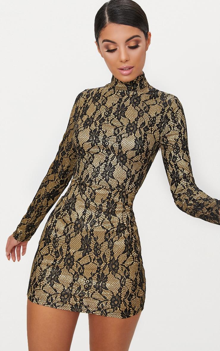 Black Glitter Lace High Neck Bodycon Dress