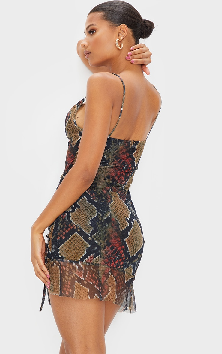Multi Mesh Snake Print Ruched Bodycon Dress 2