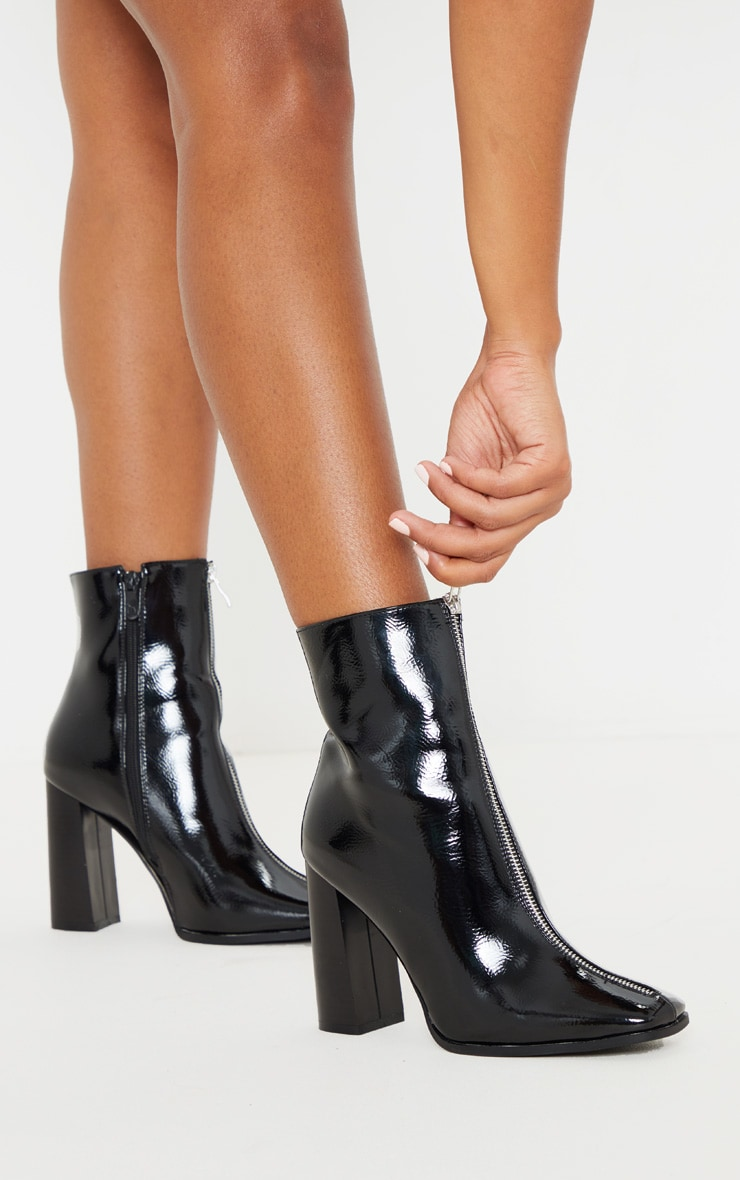 Black Zip Front Block Heel Ankle Boot 1