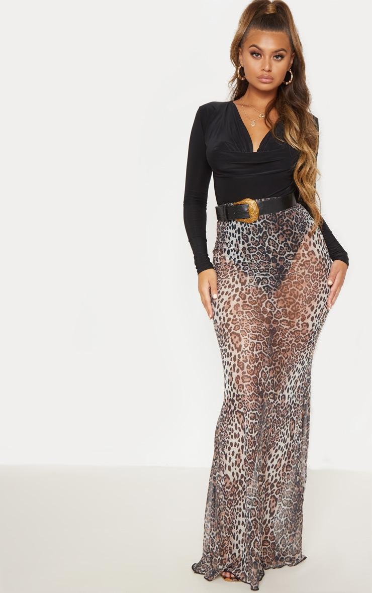 Leopard Print Mesh Maxi Skirt 2