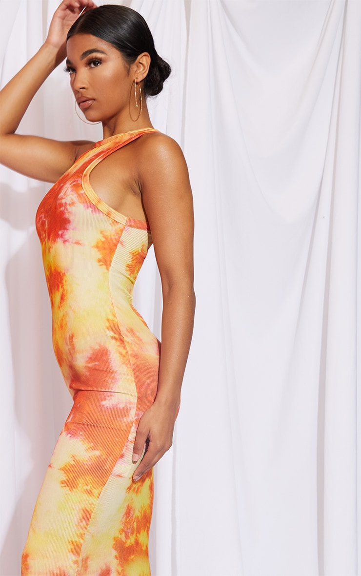 Orange Tie Dye Racer Neck Rib Midi Dress 4