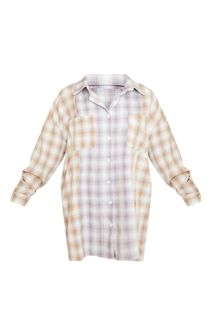 Petite Stone & lilac Mixed Checked Shirt Dress 5