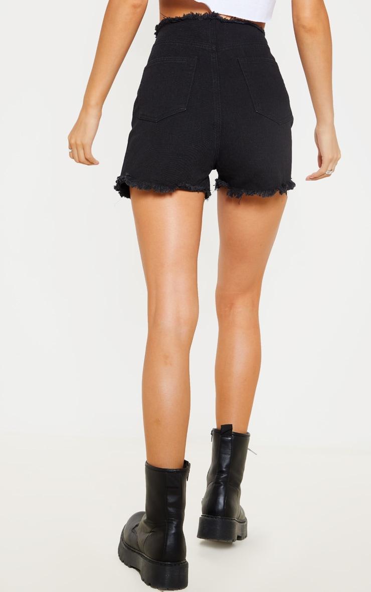 Short en jean noir à laçage frontal  4