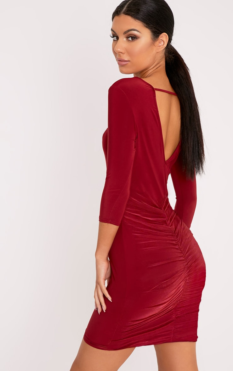 Antonina Burgundy Slinky Ruched Back Bodycon Dress 1