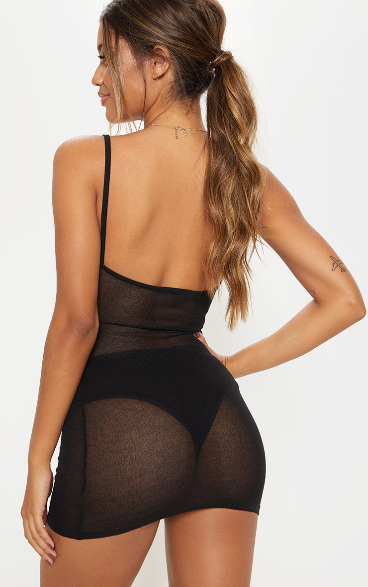 Black Sheer Knitted Strappy Dress  2