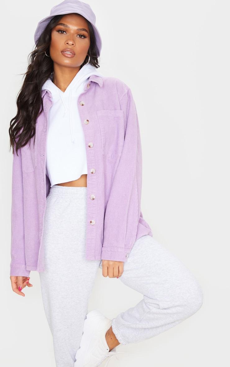 Lilac Jumbo Cord Long Sleeve Denim Shirt 1