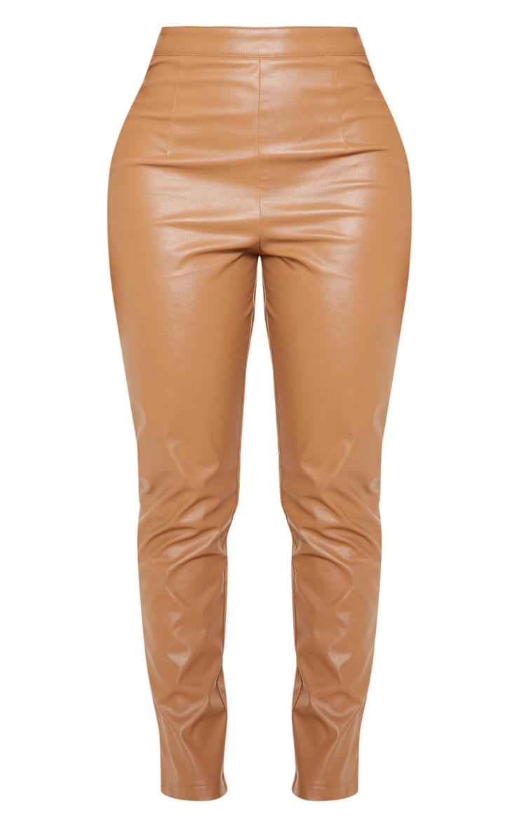 Shape Tan Faux Leather Straight Leg Trouser 3