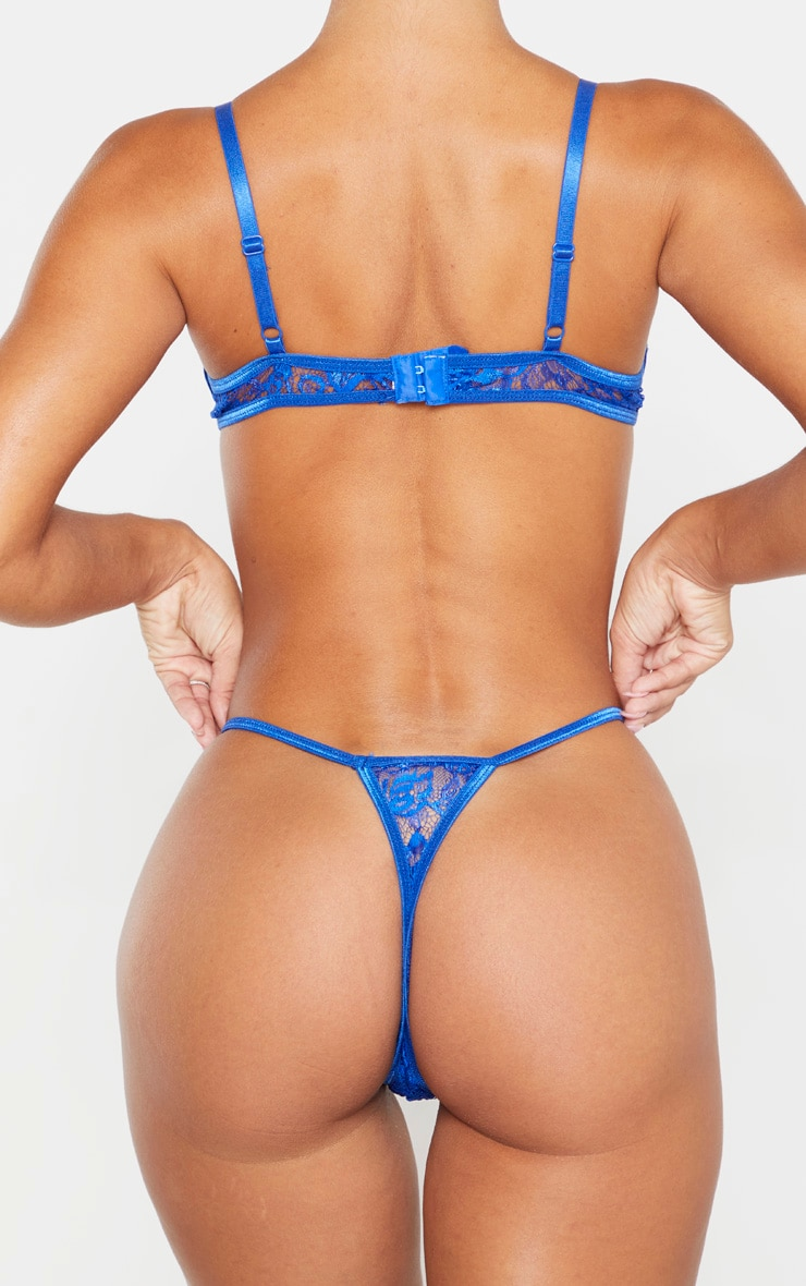 Cobalt Eyelash Lace Strappy Thong 3