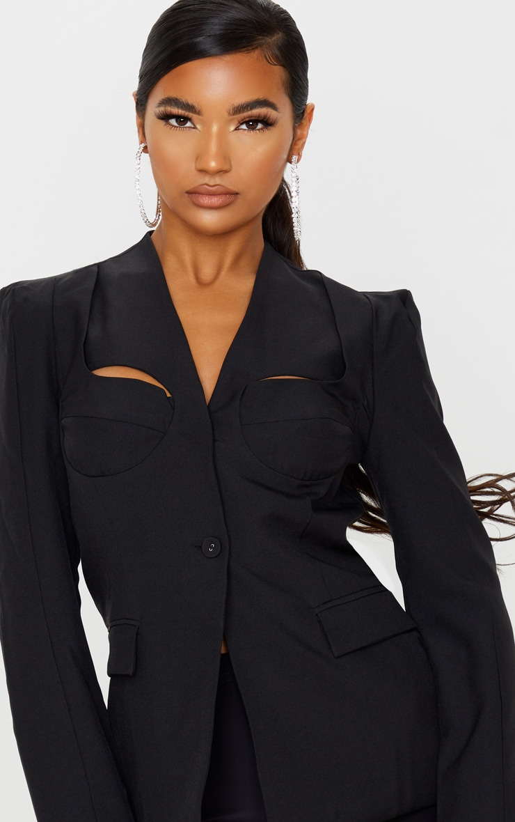 Black Cut Out Cup Detail Blazer 5