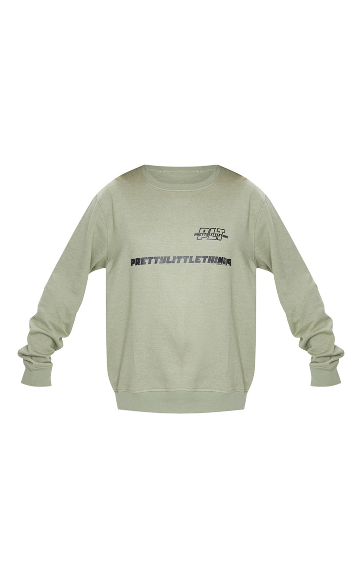 PRETTYLITTLETHING Sage Green Slogan Oversized Sweater 5