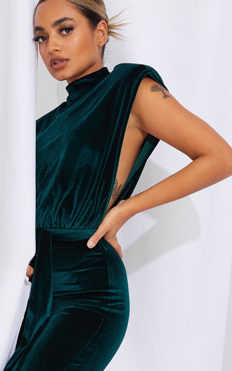 Petite Emerald Green Velvet Shoulder Pad Tie Waist Wide Leg Jumpsuit 4