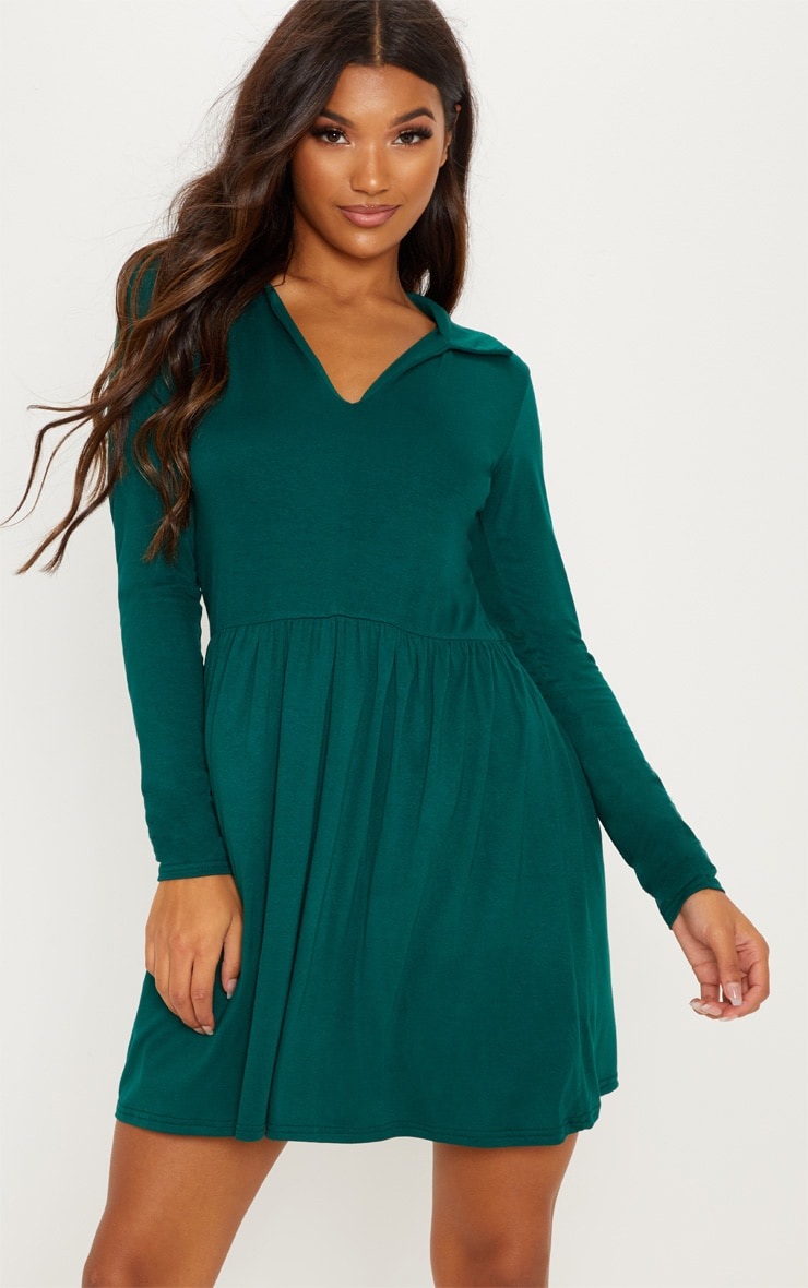 Emerald Green Tiered Long Sleeve Smock Dress