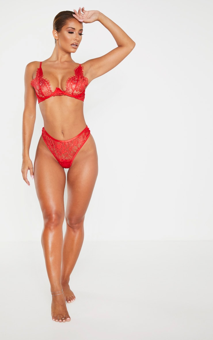 Red Floral Lace Thong 4