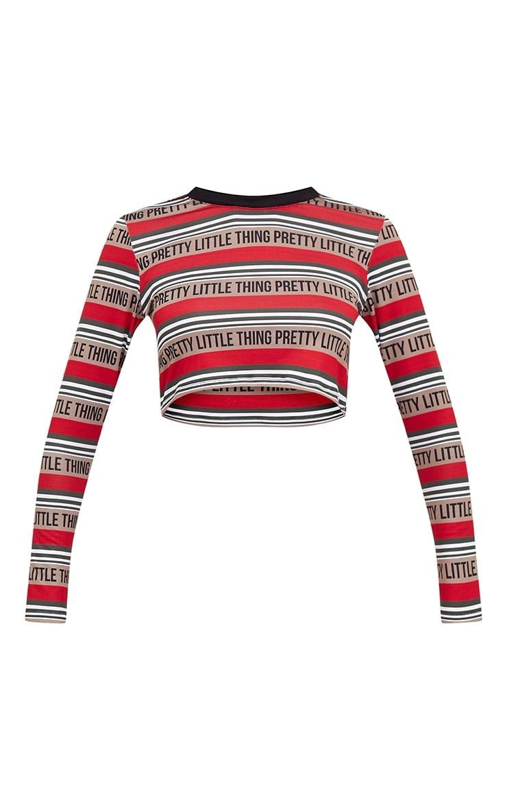 PRETTYLITTLETHING Red Long Sleeve Crop Top  3