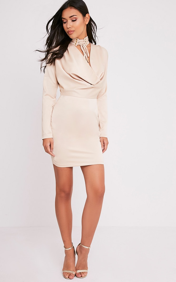 Chrissie Champagne Lace Up Satin Bodycon Dress 5