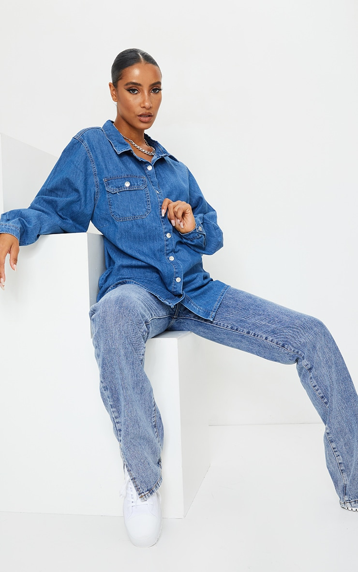 Mid Blue Wash Popper Denim Shirt 3