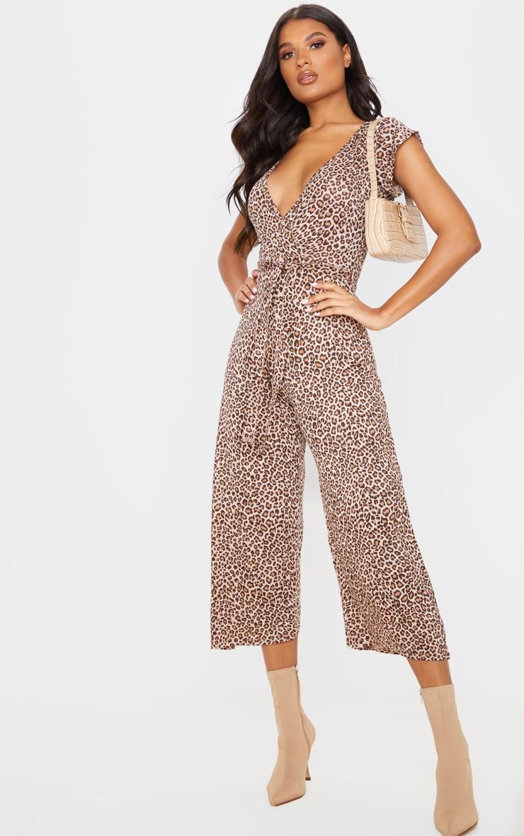 Tan Leopard Print Wrap Culotte Jumpsuit 4