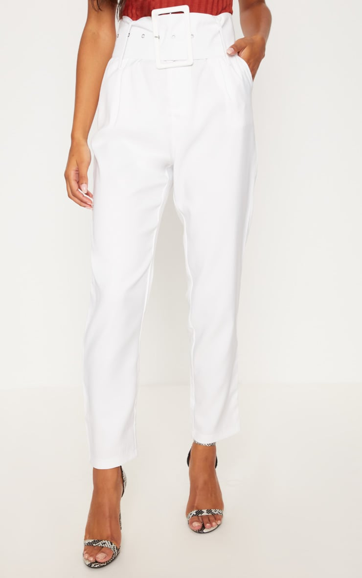 Cream Super High Waisted Belted Tapered Pants 2