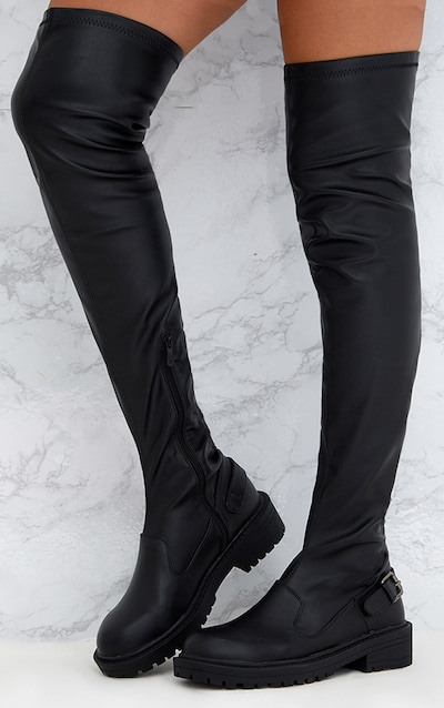 Black PU Buckle Detail Chunky Over The Knee Boots