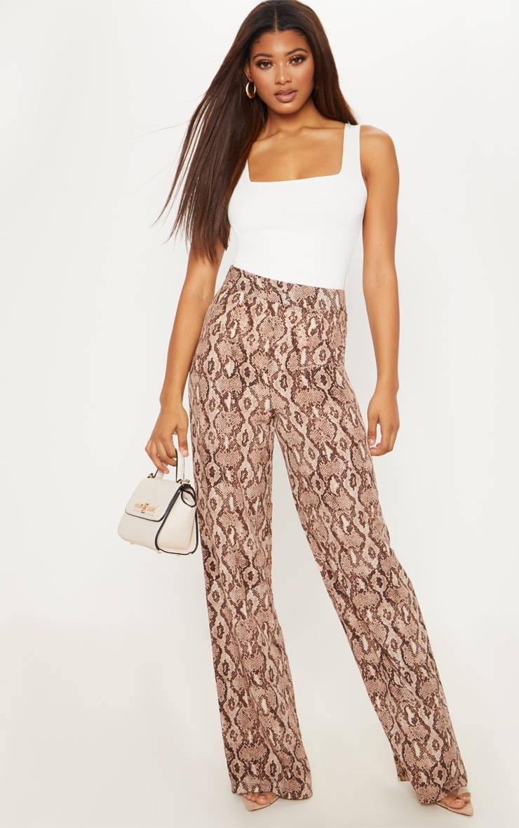 Tall Taupe Snake Print Wide Leg Satin Pants 1