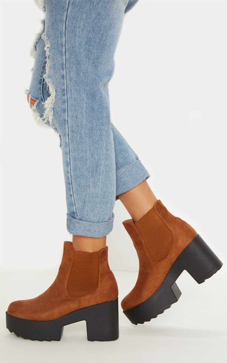 Camel Elasticated Side Ankle Boot