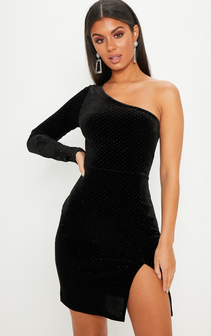 Black Velvet Glitter One Shoulder Long Sleeve Mini Dress 4