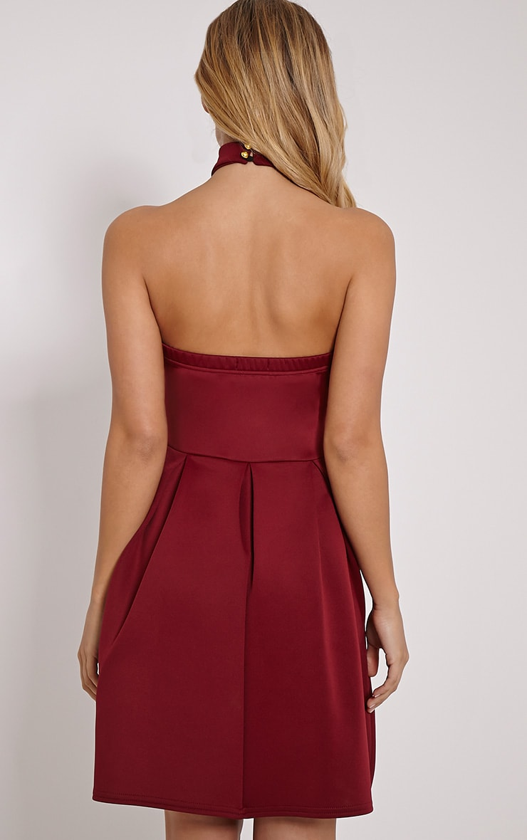 Madeline Wine Halterneck Box Pleat Skater Dress 2