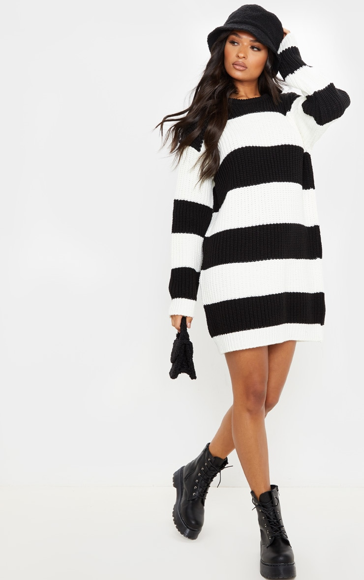 Monochrome Stripe Sweater Dress 1