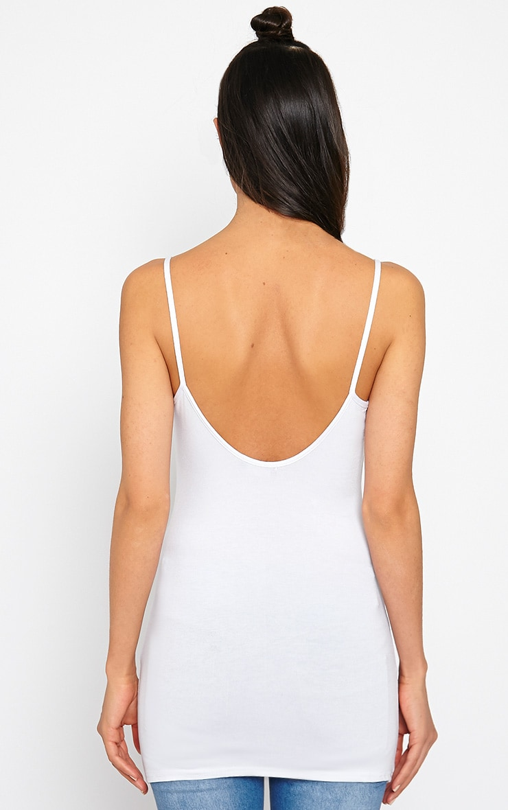 Basic White Jersey Vest Top 2