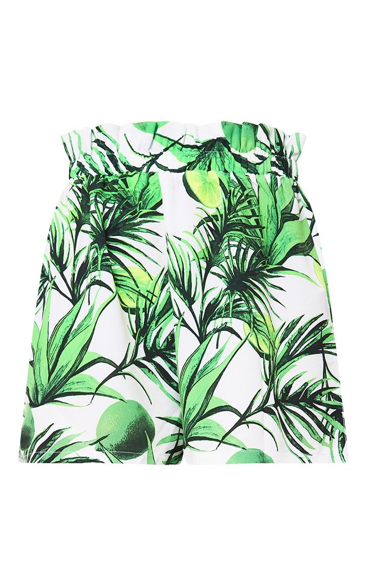 White Tropical Print Paperbag Shorts 3