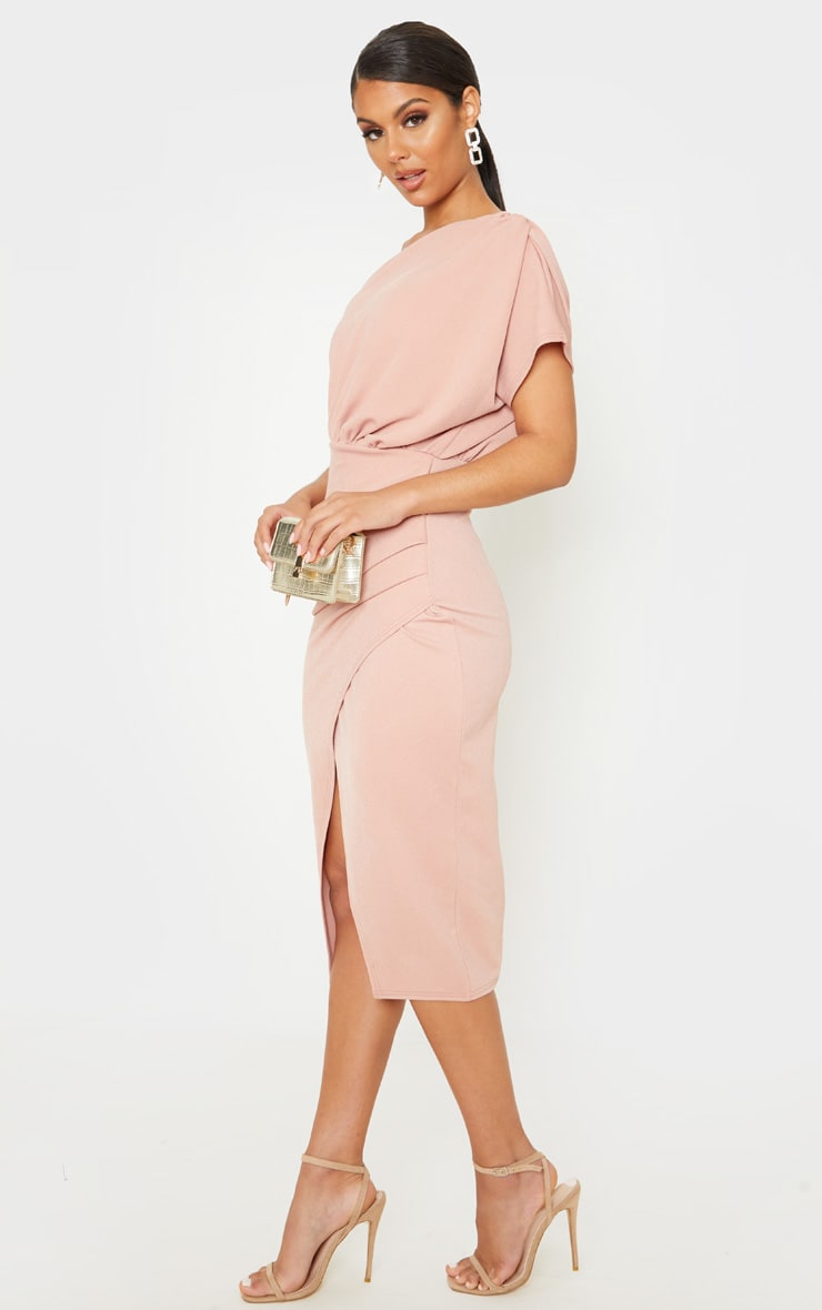 Dusty Pink Drape Detail One Shoulder Midi Dress 4