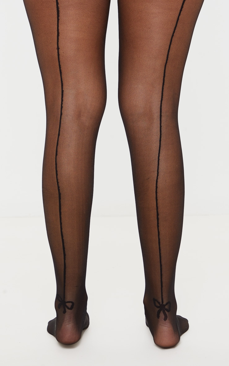 Black Ankle Bow Seam Support Tights 3