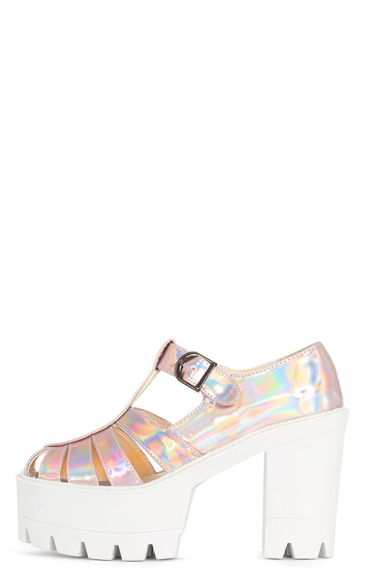 Jamiya Pink Holographic Cut Out Heeled Sandals 1