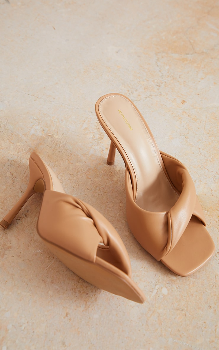 Sand Wide Fit PU Folded Knot Low Heeled Mules 4