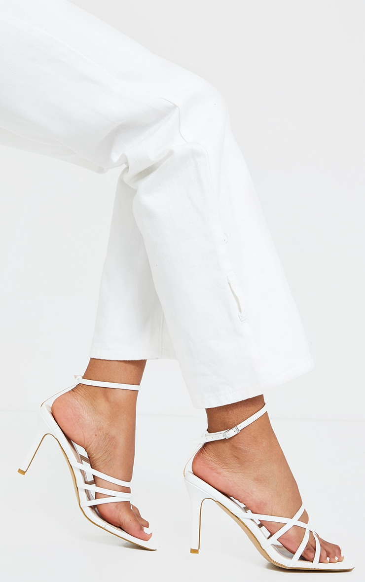 White Multi Strap Square Toe Thong Heeled Sandals 2