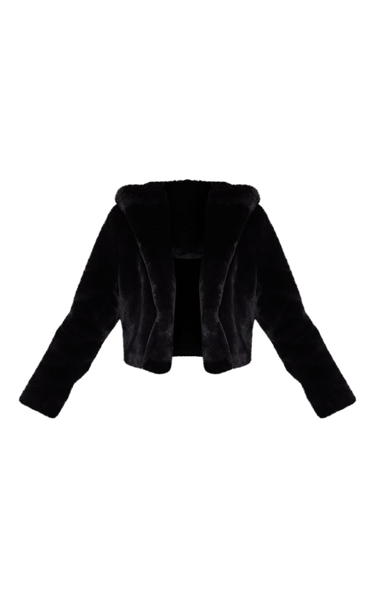 Black Cropped Faux Fur Hooded Coat 3