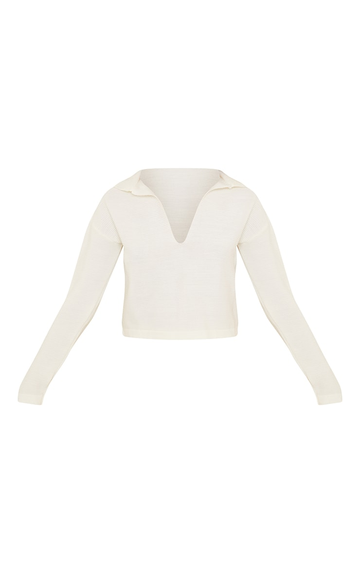 Cream Collared Knitted Jumper 5