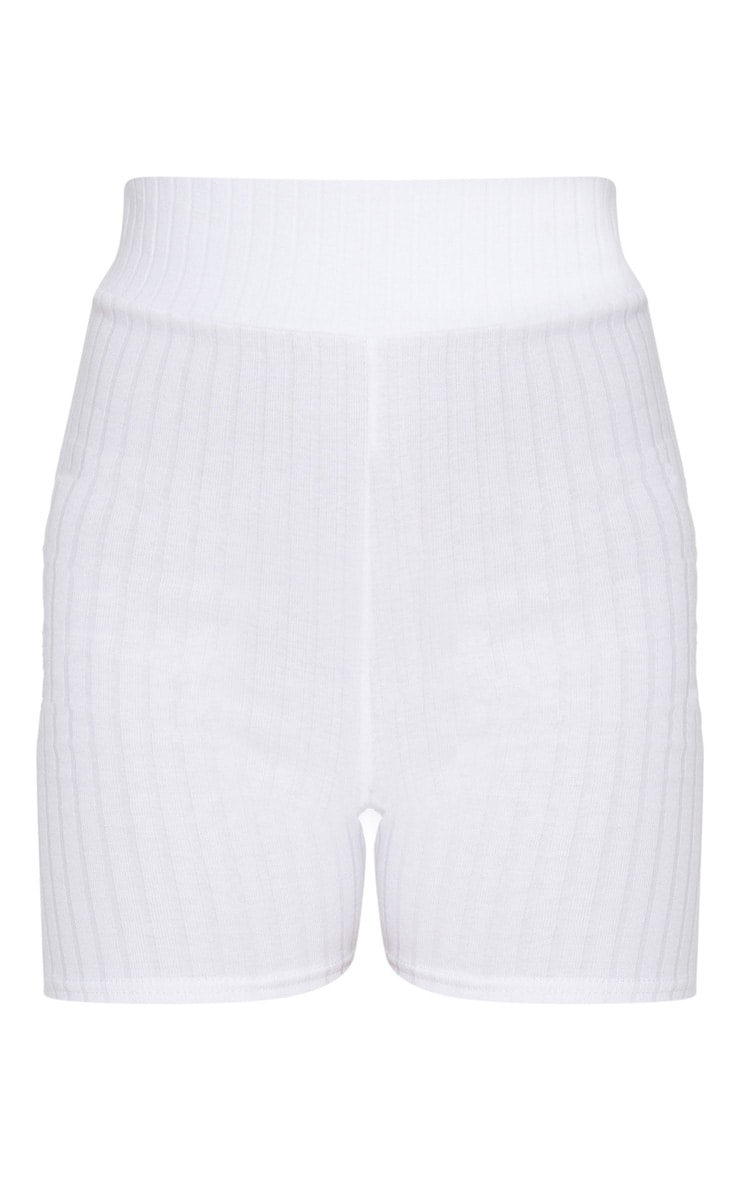 White Rib High Waisted Bike Shorts 3