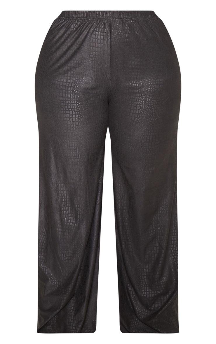 Plus Black Textured Wide Leg Pants  3