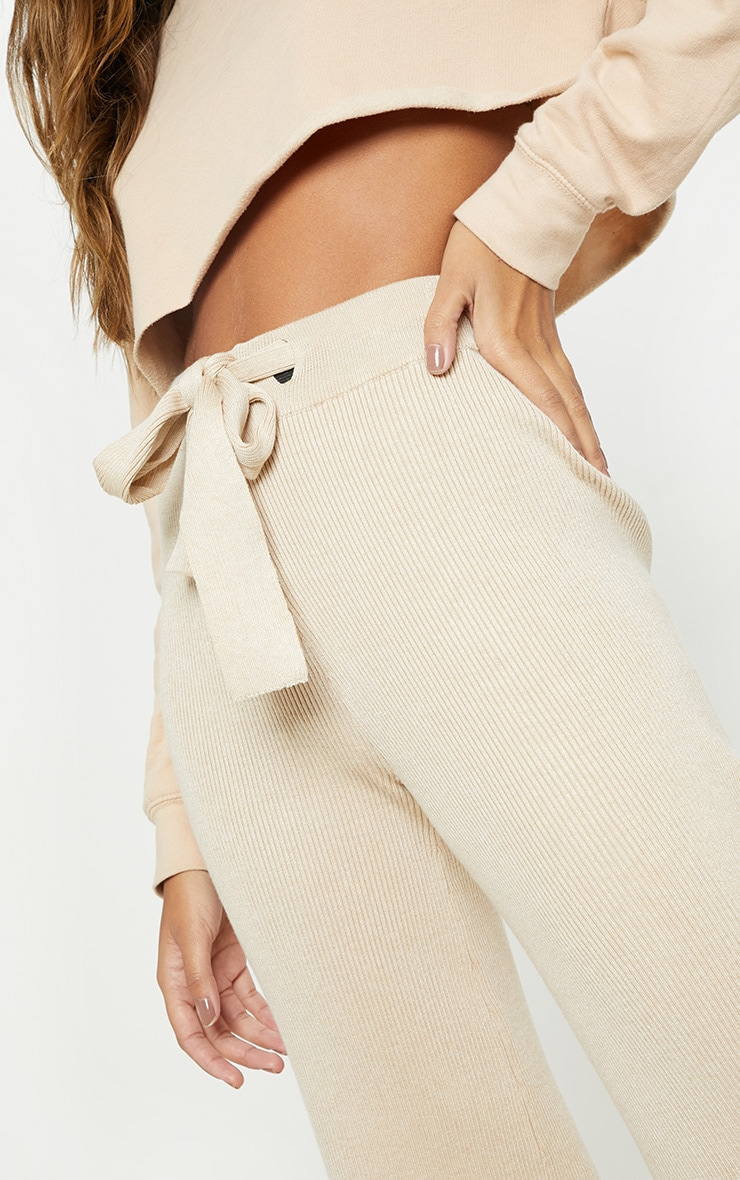 Ribbed Knitted Wide Leg Stone Trouser  5