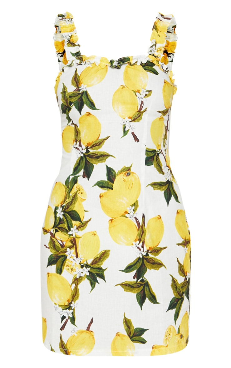 Lemon Print Ruched Strappy Bodycon Dress 3