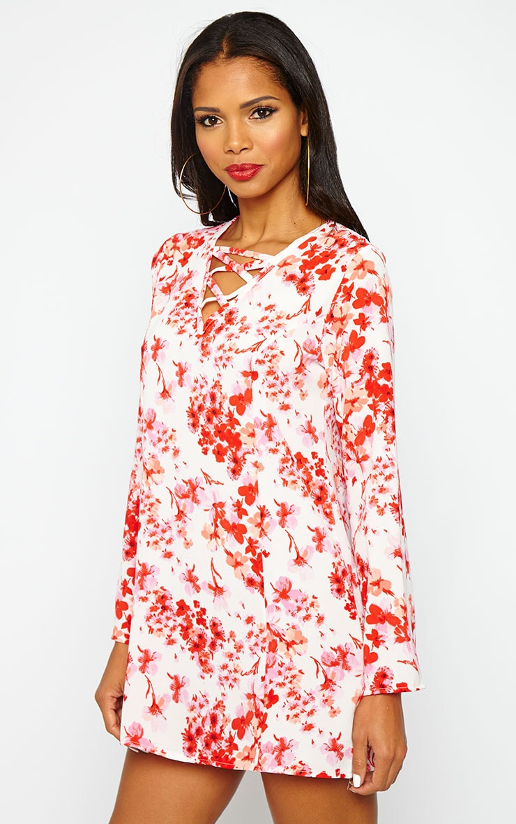 Liz Floral Cross Front Crepe Loose Fit Swing Dress 5