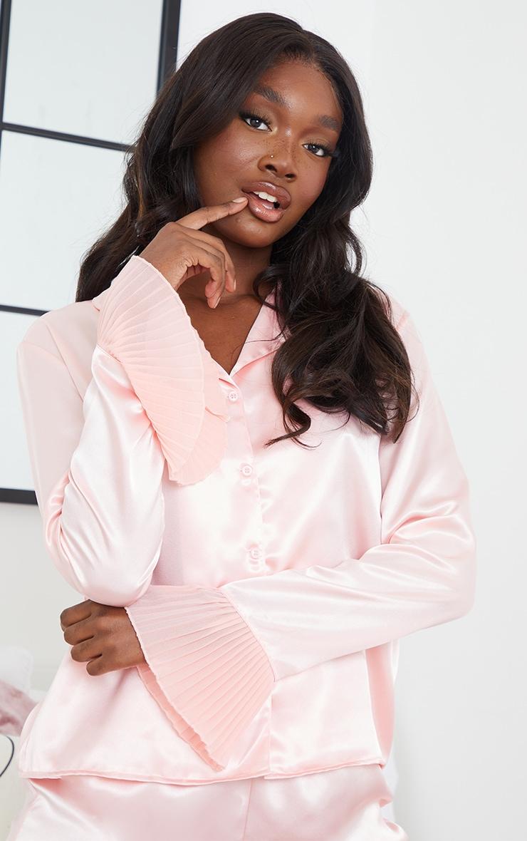 Tall Pink Satin Frill Hem Longsleeve Short Pyjama Set 4