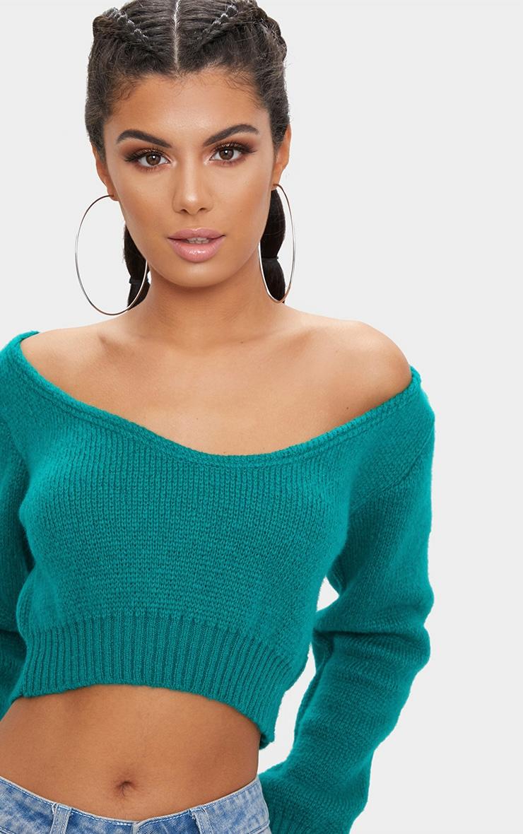 Emerald Green V Neck Off Shoulder Knitted Cropped Jumper 5